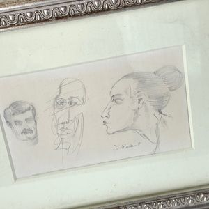 Vintage 1981 Abstract Faces Drawing Silver Frame